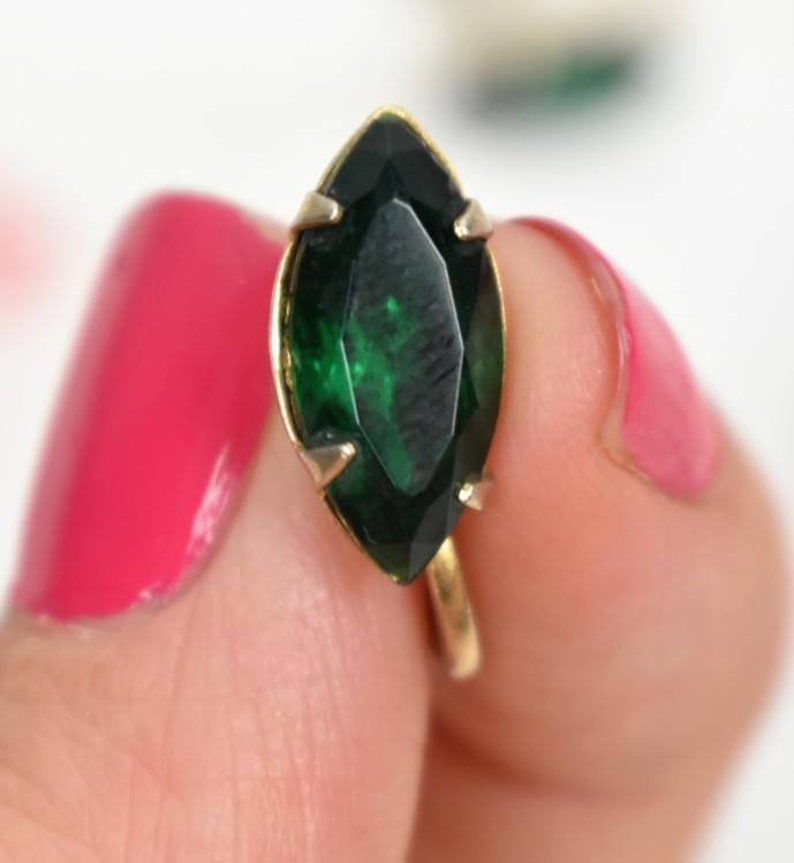 Stunning vintage faux marquise cut emerald clip on earrings