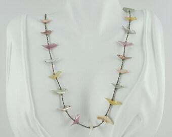 Vintage Sterling Silver Southwestern Pink Mother of Pearl Bird Fetish Necklace