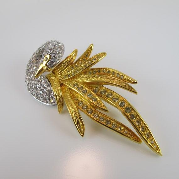 silver tone faux topaz aquamarine sea blue stone Nolan Miller swan brooch pin designer signed vintage