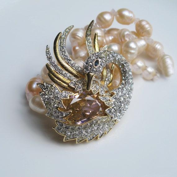 Vintage Nolan Miller Crystal Swan brooch