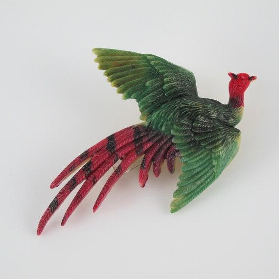 Celluloid Bird Pheasant Brooch 1950 circa