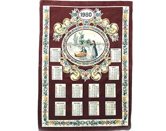 1980 calendar tea towel Holland 80's