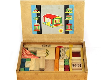 Construction box with blocks construction houses 60's