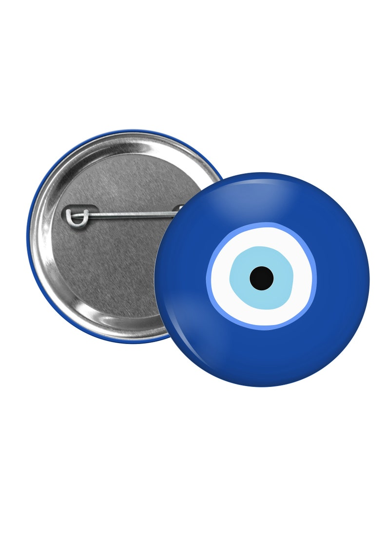 Evil Eye Pinback Button Talisman Against Misfortune Symbol Of Protection Mal De Ojo Protection Badge Turkish Eye Pin