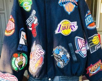 Vintage Jeff Hamilton NBA Patch Wool   Leather Limited Edition Jacket 57e2d4739