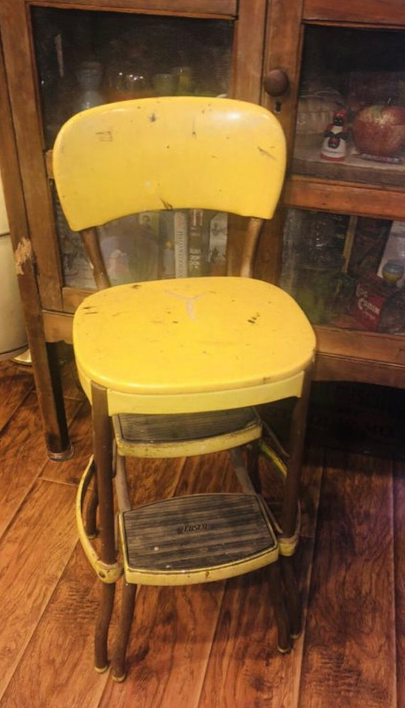 Terrific Vintage Cosco Yellow Step Stool Old Kitchen Chair Retro Mid Century Fold Out Shipping Is Not Free Local Pick Up Only Ocoug Best Dining Table And Chair Ideas Images Ocougorg