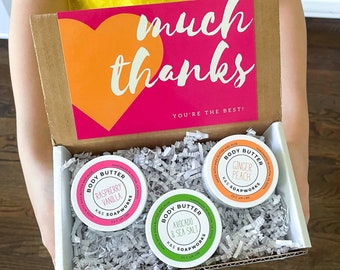 Body Butter Thank You Gift Set, Choose 3 Scents, Hug in a Box, Lotion, Teacher Gift, Friend Gift, Coworker Gift