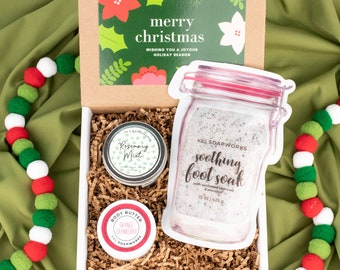 Foot Pampering Christmas Gift Set, Holiday Gift Set, Body Butter, Foot Soak, Candle, Spa Gift