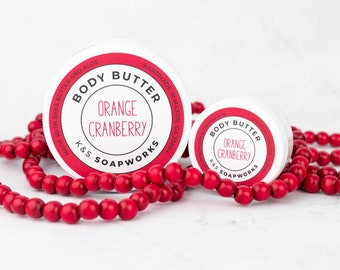 8 oz Orange Cranberry Body Butter, Hydrating Lotion, Shea Butter and Aloe, Natural Skincare