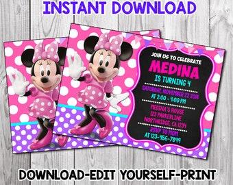 Minnie Mouse 2nd Birthday Invitation Etsy