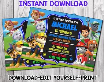 Paw Patrol Invitation Invite Birthday Party Printable Card Digital