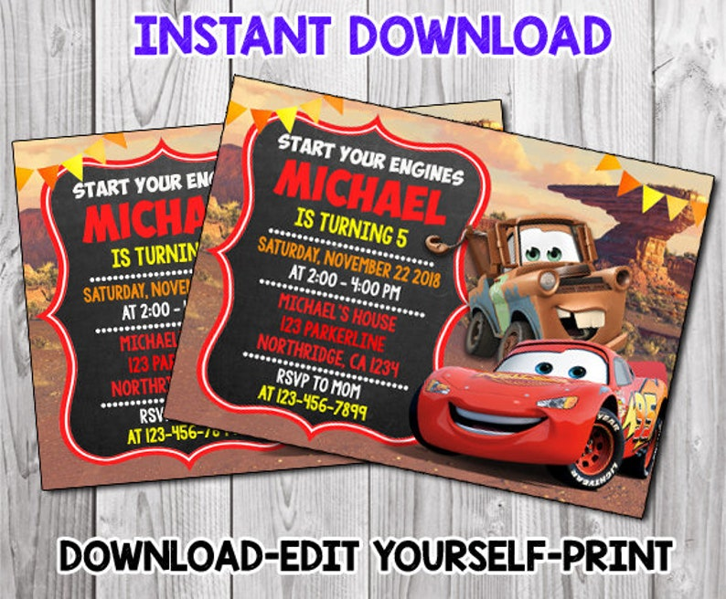 Editable Cars Invitation,McQueen Birthday Party,Chalkboard  Invitation,Disney Movie Cars,Cars 3 Birthday Invitation,Cars 3 Instant  Download