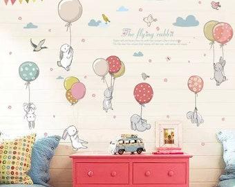 Perfect Cute Bunny Rabbit Hot Air Balloon Nursery Wall Decal Nursery Wall Stickers  Baby Girl Bedroom Baby Boy Bedroom Decoration
