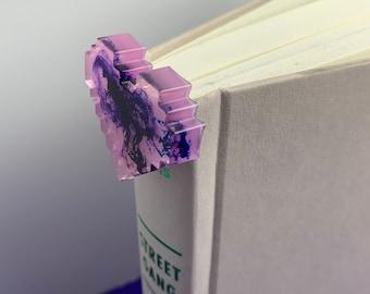 Pink Pixel 8-bit Spine Bookmark Gold Metal Handmade Resin Purple Blue Marble Design