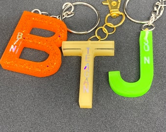 Custom Letter Keychain! Choose your Letter, Color and Name or Word! Resin Keychains Made to Order