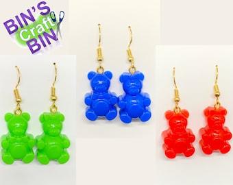 Gummy Teddy Bear Resin Earrings Handmade Boy Girl Male Female Pairs Hair Bow Tie