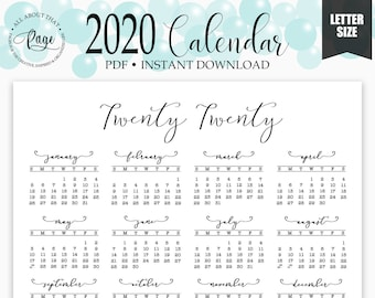 One page calendar | Etsy