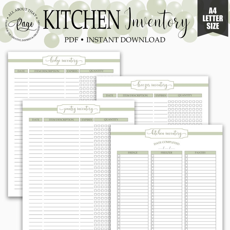 graphic regarding Pantry Inventory Printable identified as Kitchen area Stock Printable, Refrigerator, Freezer and Pantry Stock Listing, PDF, Inexperienced, Evening meal Coming up with, Kitchen area Company, RMP03-03, KIP