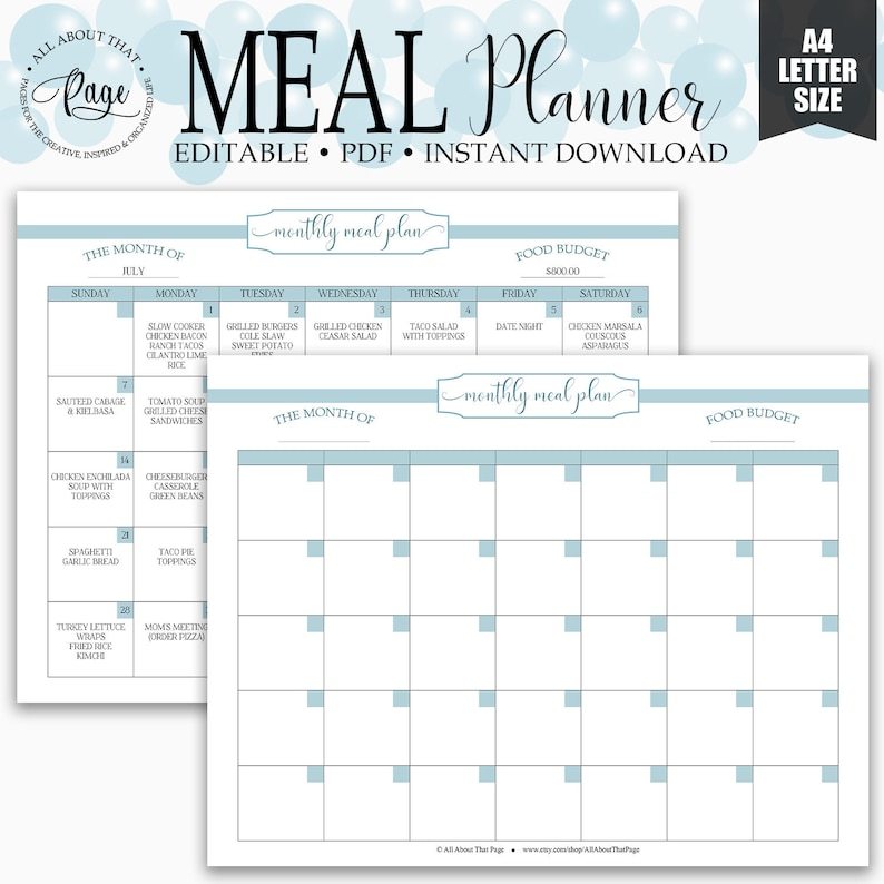 image regarding Monthly Meal Planner Printable identify Editable Month to month Evening meal Planner Printable, Menu Planner, Regular monthly Dinner Developing, PDF Template, Aqua, Kitchen area Business enterprise, RMP02-04, MPP