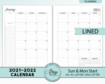 NEW! 2021 2022 Monthly Calendar Printable, Two 2 Page Planner Insert, Lined, Sunday Monday Start, A4 A5 Letter Half Size PDF CLP01-02