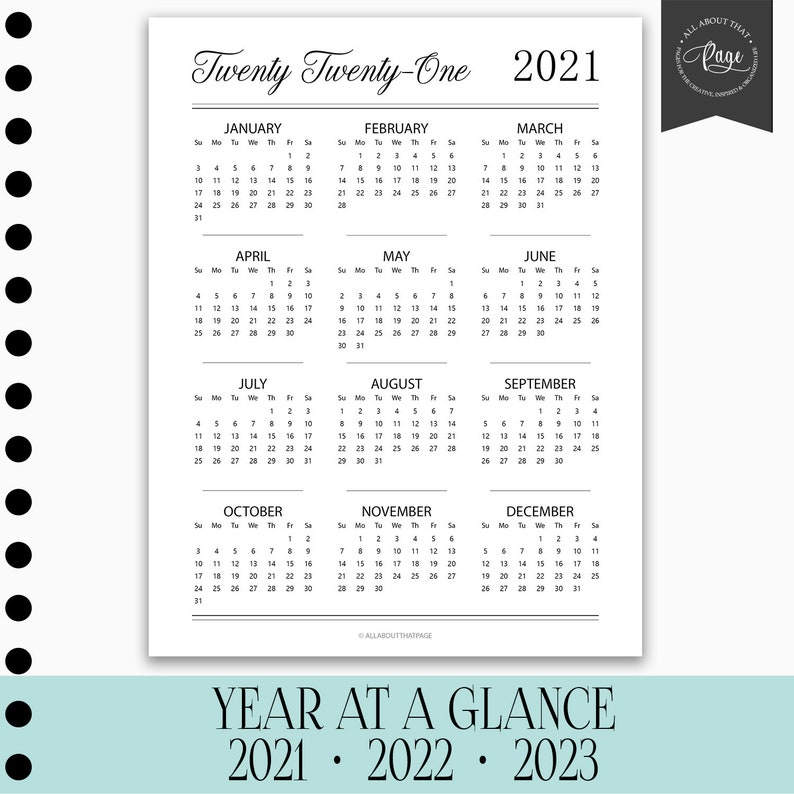 NEW 2021 2022 2023 Year at a Glance Calendar Month Sunday ...