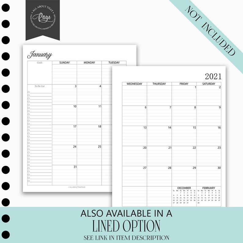 NEW 2020 2021 Monthly Calendar Printable Two 2 Page ...