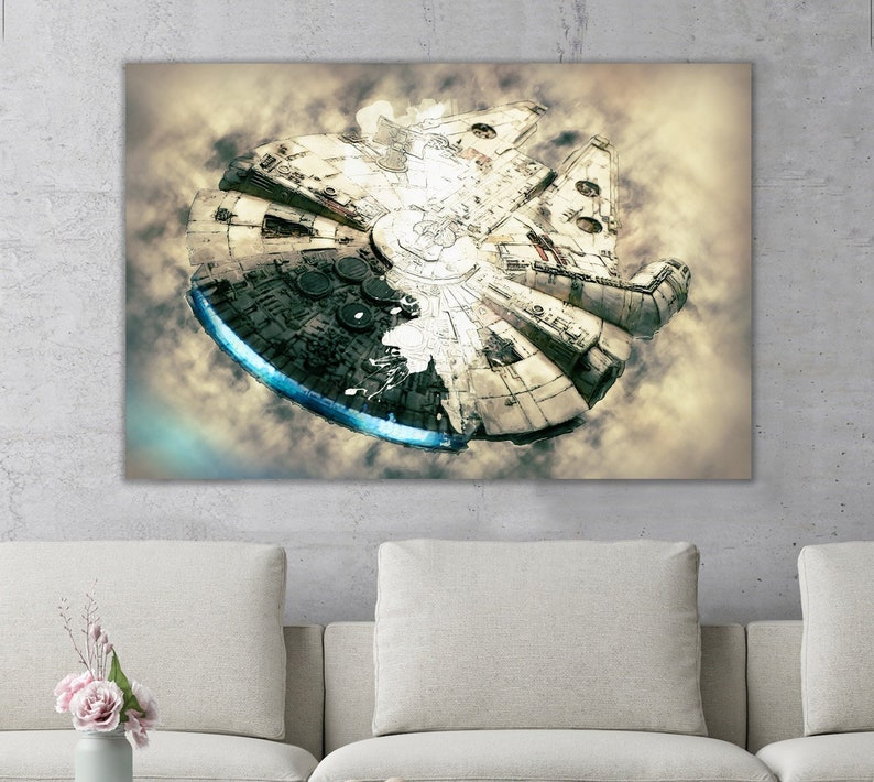 4b8e46392d6 Millennium Falcon Star Wars Movie Canvas Art Wall Print