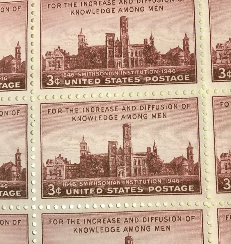 FREE SHIPPING !! Full Sheet 50 Smithsonian 3 ct Postage Stamps  Catalog#  943  Issued 1946