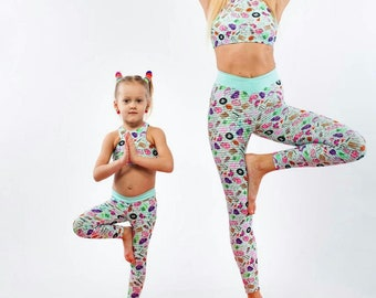 Mommy and Me outfit - Mom and Daughter matching leggings and sports bra with funny prints - Kids yoga pants- Active wear gift