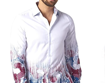 3726d522 Faded Royal Suslo Couture Mens Fall Beatiful Printed Slim Fit Long Sleeve  Button Down Shirt