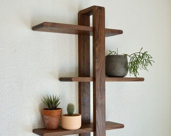 Walnut Shift Shelf -- The Original Design - Solid hardwood for Hanging Plants, Books, Photos. Handmade, Wood, Adjustable, Mid-century Modern