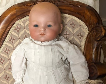 Antique (pre-1930) Dolls Collection Here Antique Signed Armand Marseille 1894 Bisque Baby Doll In Original Clothes