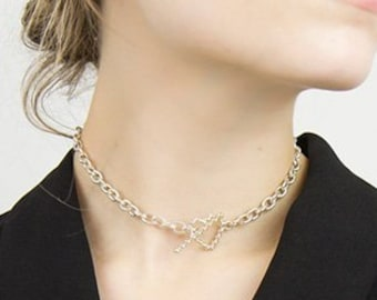 SALE CUPID LOVE Small Choker Necklace Brass Vermeil 18K Gold Plated 925 Sterling Silver Finish Romantic Heart Minimal Pendant Gift