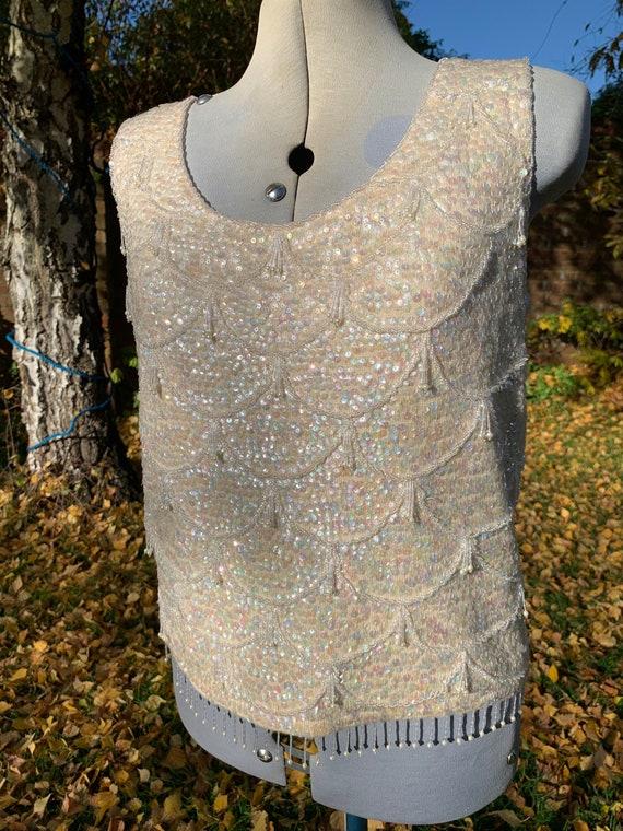 Vintage 1960/'s Winter White SequinnedBeaded Sleeveles Top Size 10