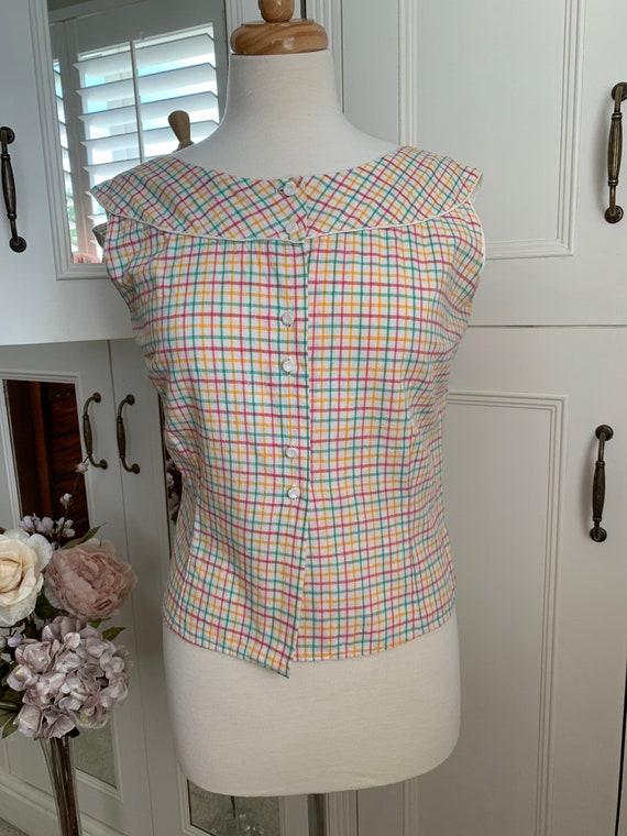 Vintage 1950s cotton check sun top blouse