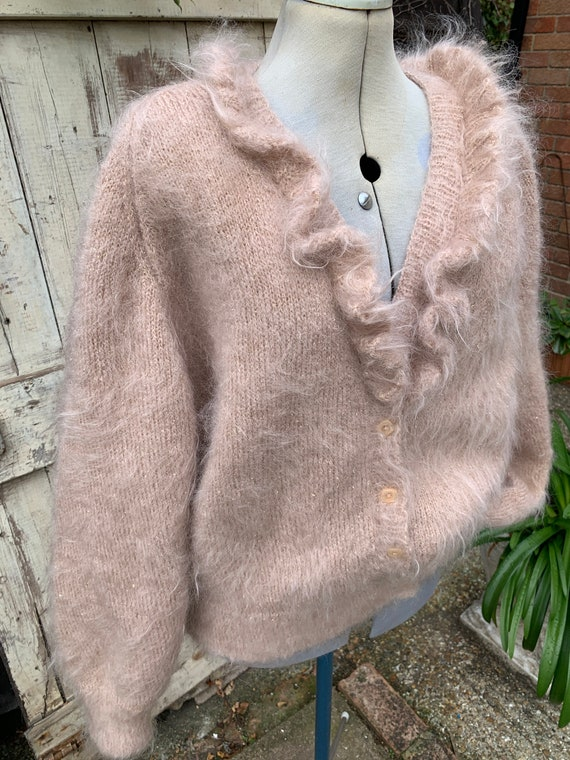 Vintage 1980s hand knitted pale pink mohair cardig