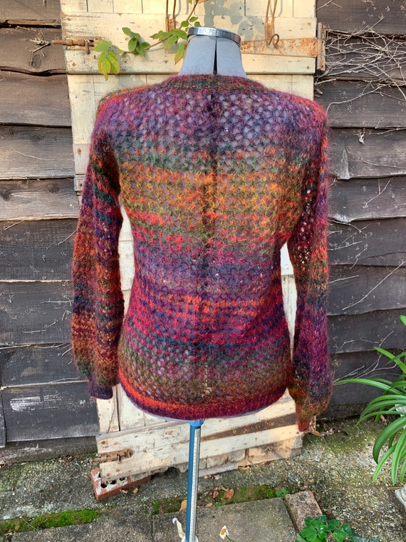Vintage 1980s hand knitted mohair autumn colours … - image 3