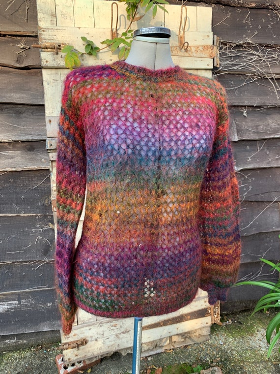 Vintage 1980s hand knitted mohair autumn colours … - image 1