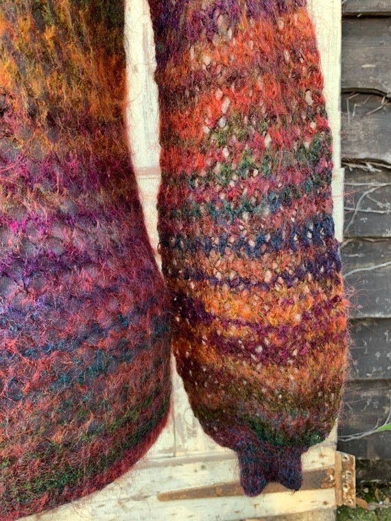 Vintage 1980s hand knitted mohair autumn colours … - image 6