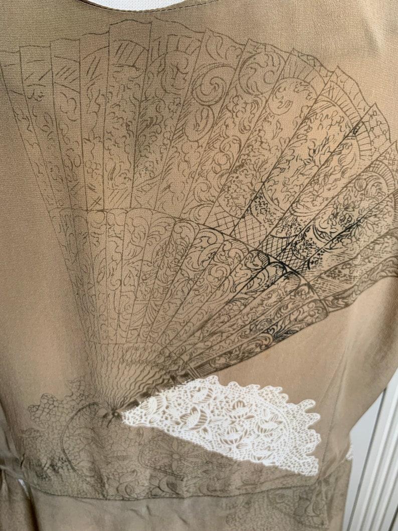 Vintage 1990s fan print beige silk dress tunic