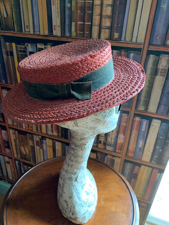 Vintage 1950s red straw boater by Ridgmont uk