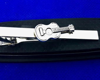 Guitar Tie Clip Red Guitar Tie Bar Band Musician Instrument US Seller NEW