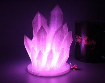 Color Changing LED 3D Printed Crystal Lamp. Comes with multicolor LED light, batteries and remote included! Best Seller!