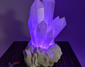 Color-Changing Rainbow Crystal Lamp Growing from Rock - 3D Printed - Batteries Included!