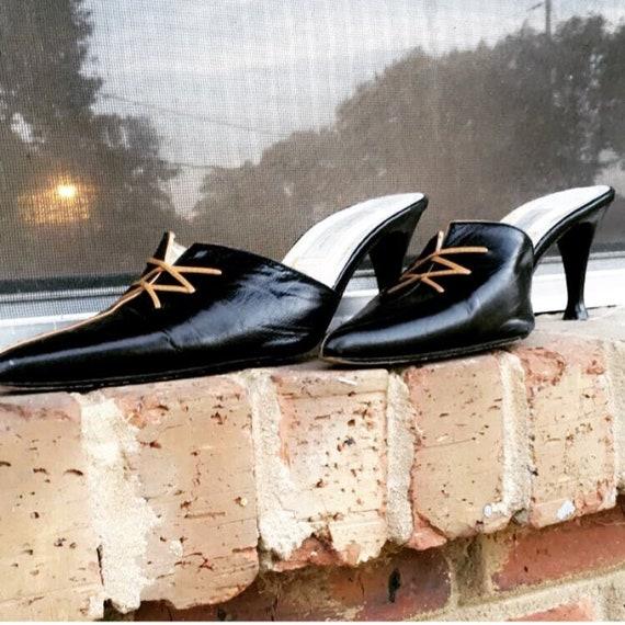 Black kitten heel slides with camel laces details