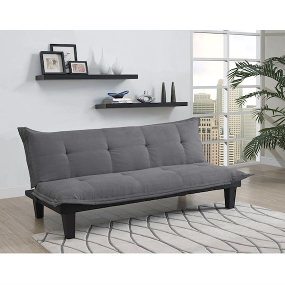 Brilliant Modern Contemporary Convertible Sofa Bed Futon Lounger In Charcoal Gray Microfiber Gmtry Best Dining Table And Chair Ideas Images Gmtryco