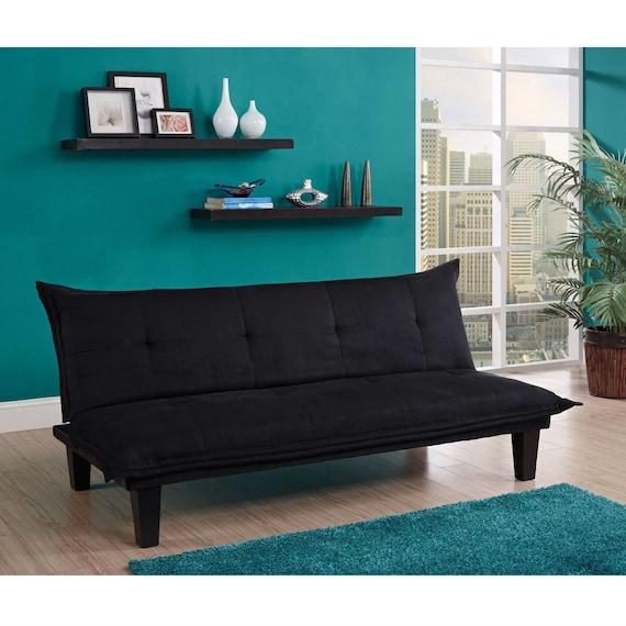 Modern Contemporary Convertible Sofa Bed Futon Lounger in Black Microfiber