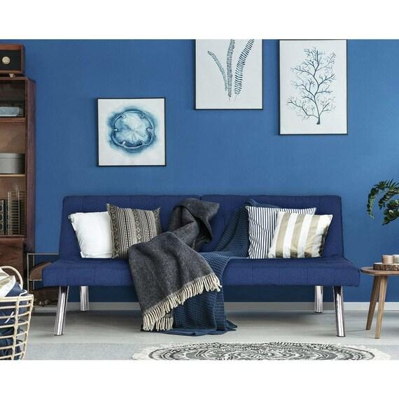 Split Back Modern Navy Blue Futon Sleeper Sofa Bed Couch Wear Resistant Soft Linen