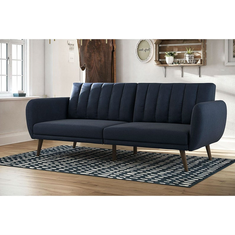 Modern Navy Blue Linen Upholstered Sofa Bed Futon With Mid Century Style Wood Legs