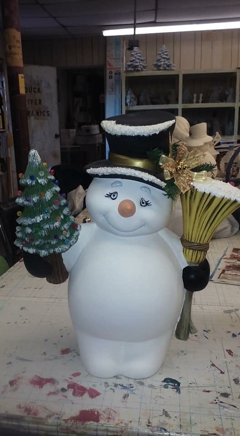 Ceramic Snowman With Broom And Christmas Tree
